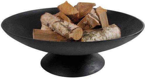 Esschert Design Feuerschale, Feuerstelle auf Fuß, niedrig, Größe XL, Ø 78 cm, 26 cm Höhe, Sockel