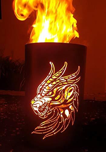 Tiko-Metalldesign Feuertonne/Feuerkorb mit Drachen Motiv (Fire-Dragen)