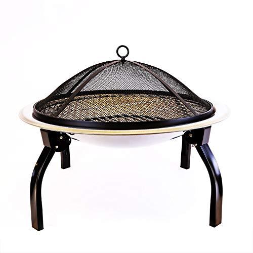 CLGarden Feuerschale FS1 aus Edelstahl mit Grillrost Feuerkorb Grill