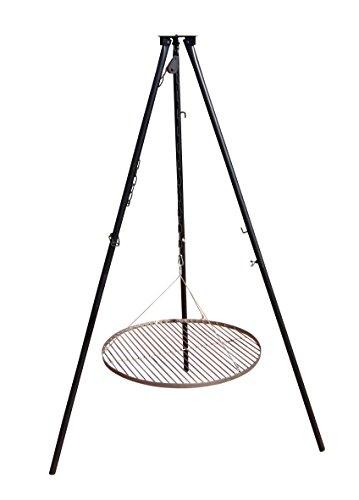 AKTIONA Massives 180 cm Stahl Dreibein ohne Grillrost + Kettenzug Benny Tripod für Gulaschkessel Schwenkgrill Gulaschtopf