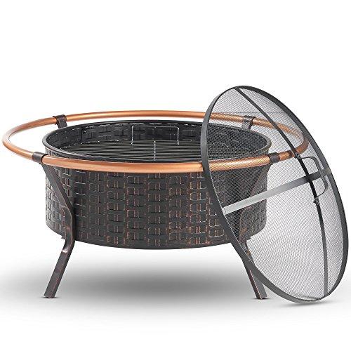 VonHaus Kupfer Rand Feuerschale mit Grill Rack, Funkenschutz Und Schürhaken – Garten & Outdoor Terrasse - Feuerschüssel - Heizung